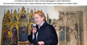 La Dott.ssa Vittoria Garibaldi illustra i restauri effettuati nella Chiesa.