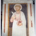 Parete laterale sinistra. I campata. Intervento di restauro 2003. Fronte del pilastro di destra. San Bartolomeo (?), sec, XV