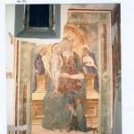 Parete laterale sinistra III campata. Restauro 2003. Madonna in trono con Bambino
