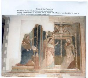Presbiterio. Parete di fondo. Restauro 2003. Madonna con Bambino e Annunciazione