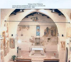 Veduta dell'area presbiteriale della contoria in controfacciata. Dopo restauro del 2005 - 2006
